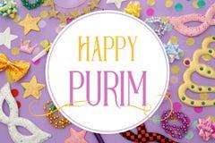 Purim świętowania pojęcie & x28; żydowski karnawałowy holiday& x29; z maskami obrazy royalty free