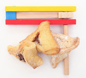 Purim arrangement with Hamentashen Royalty Free Stock Photo