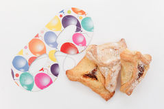 Purim arrangement with Hamentashen Royalty Free Stock Photography