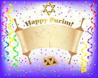 Purim background with Torah scroll. Torah scroll and Star of David on a festive background with curling ribbons and confetti. Vector illustration Stock Image