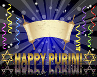 Purim background with Torah scroll. Torah scroll and Star of David on a festive background with curling ribbons and confetti. Vector Stock Photography