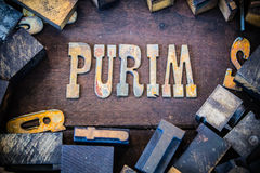 Purim begrepp Rusty Type Royaltyfria Foton