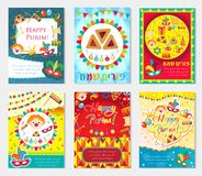 Purim carnival set poster, invitation, flyer. Collection of templates for your design with mask, hamantaschen, clown. Balloons, Grager ratchet. Festival stock illustration