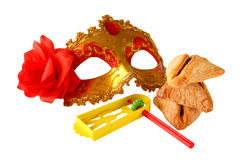 Purim celebration concept (jewish carnival holiday). selective focus. isolated on white Stock Photography
