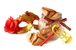 Purim celebration concept (jewish carnival holiday). selective focus. isolated on white Stock Image
