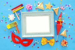 Purim celebration concept jewish carnival holiday. Top view. stock image