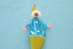 Purim celebration concept & x28;jewish carnival holiday& x29;. Top view of clown noise maker toy. Purim celebration concept & x28;jewish carnival holiday& x29 stock images