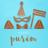 Purim celebration concept & x28;jewish carnival holiday& x29;. Traditional symbols shapes cutted from paper. Purim celebration concept & x28;jewish carnival stock images