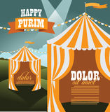Purim circus tents background template Royalty Free Stock Photography