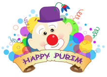 Purim Clown Banner. Colorful banner with a clown and Happy Purim text in the center. Eps10 Stock Photos