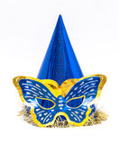 purim. Clown hat,  with Butterfly-shaped mask Royalty Free Stock Photography