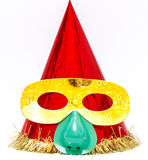 Purim. Clown's cap red With a funny mask Stock Photos