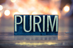 Purim Concept Metal Letterpress Type Royalty Free Stock Photography