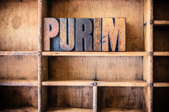 Purim Concept Wooden Letterpress Theme Stock Photography