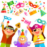 Purim elements and kids Royalty Free Stock Photo