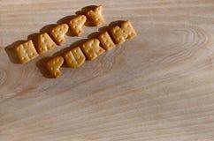 PURIM FELIZ Montón de letras comestibles Imagen de archivo libre de regalías