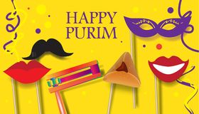 Purim festival celebrate. Purim celebration concept poster, Jewish Holiday festive abstract design banner with traditional symbols noisemaker grogger, ratchet Royalty Free Stock Images