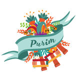 Purim festive greeting card design. With jester's hat, flowers, noisemakers and party favors Royalty Free Stock Photo