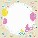 Purim greeting card design with decorative background. Stock Photo