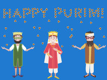 Purim greetings, kids with hamantaschen vector cartoon Royalty Free Stock Photo