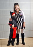 Purim (Halloween): siblings dressed up Stock Photography