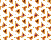 Purim hamantaschen seamless pattern. Jewish traditional dish on the holiday of . endless background, texture, wallpaper. Purim hamantaschen seamless pattern Royalty Free Stock Images