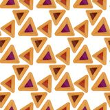 Purim hamantaschen seamless pattern. Jewish traditional dish on the holiday of Purim. endless background, texture vector illustration