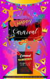 Purim. Happy Purim festival flyer. Purim Jewish Holiday decorative poster with masquerade symbols, toy grogger noisemaker, carnival mask, crown, festive confetti Stock Photos