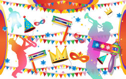 Purim. Happy Purim festival flyer. Purim Jewish Holiday decorative poster with masquerade symbols, toy grogger noisemaker, carnival mask, crown, festive confetti Stock Photo