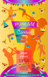 Purim. Happy Purim festival flyer. Purim Jewish Holiday decorative poster with masquerade symbols, toy grogger noisemaker, carnival mask, crown, festive confetti Royalty Free Stock Photos