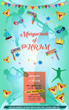 Purim. Happy Purim festival flyer. Purim Jewish Holiday decorative poster with masquerade symbols, toy grogger noisemaker, carnival mask, crown, festive confetti Royalty Free Stock Image