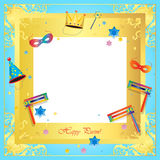 Purim. Happy Purim festival greeting card frame. Purim Jewish Holiday decorative poster with masquerade symbols, toy grogger noisemaker, carnival mask, crown Stock Photography