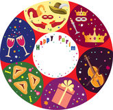 Purim holiday background. Purim holiday background,rounds icons with symbols of jewish religious holiday:haman ears,wine,carnival mask,violin Stock Photo