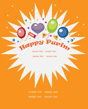 Purim holiday background. Balloons and Purim objects in an abstract multibeam star, orange tone Royalty Free Stock Photos