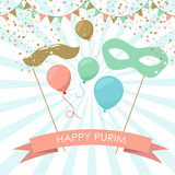 Purim holiday card or banner design. Royalty Free Stock Photos