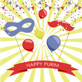 Purim holiday card or banner design. Stock Photo