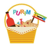 Purim holiday gifts with hamantaschen cookies and candy Stock Images