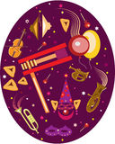 Purim holiday oval. Symbols of purim on the oval Royalty Free Stock Image