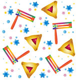 Purim holiday pattern. With Purim traditional toys noisemaker and traditional triangles cookies and stars on white background. Vector illustration. Hand Drawn stock illustration
