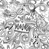 Purim holiday seamless pattern. Purim Jewish holiday seamless pattern. Black and white background with carnival masks and hats, holiday gifts, candy and Stock Photography