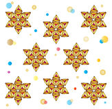 Purim holiday symbol pattern. Purim festive traditional cookies on white background, seamless pattern. These three cornered cookies filled with sweet jams on stock illustration