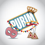 Purim icon with crown and mask Stock Photo
