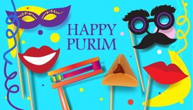 Purim jewish holiday festival. Purim celebration concept poster, Jewish Holiday festive abstract design banner with traditional symbols noisemaker grogger Royalty Free Stock Photo