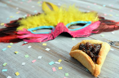 Purim Jewish holiday food and objects Royalty Free Stock Image