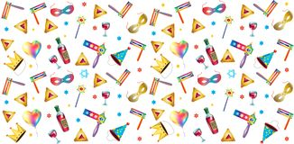 Purim jewish holiday gifts symbols pattern. Happy purim jewish holiday seamless pattern with traditional purim symbols, noisemaker, masque, gragger, hamantaschen Stock Photo
