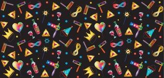 Purim jewish holiday symbols pattern. Happy purim jewish holiday pattern with traditional purim symbols, noisemaker, masque, gragger, hamantaschen cookies, crown Stock Photos
