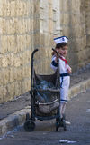 Purim in Mea Shearim. JERUSALEM - MARS 09 : Ultra Orthodox costumed firl during Purim in Mea Shearim Jerusalem on Mars 09 2012 , Purim is a Jewish holiday stock photos