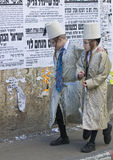 Purim in Mea Shearim. JERUSALEM - MARS 09 : Ultra Orthodox costumed boys during Purim in Mea Shearim Jerusalem on Mars 09 2012 , Purim is a Jewish holiday Royalty Free Stock Images