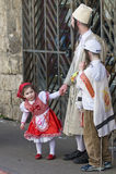 Purim in Mea Shearim. JERUSALEM - MARS 08 : Ultra Orthodox family during Purim in Mea Shearim Jerusalem on Mars 09 2012 , Purim is a Jewish holiday celebrates Stock Image