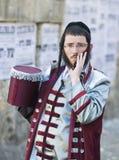 Purim in Mea Shearim. JERUSALEM - MARS 09 : Ultra Orthodox man during Purim in Mea Shearim Jerusalem on Mars 09 2012 , Purim is a Jewish holiday celebrates the Stock Photo